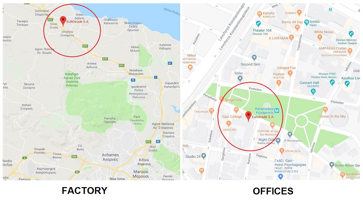 EUROtrade S.A. Factory & Offices maps